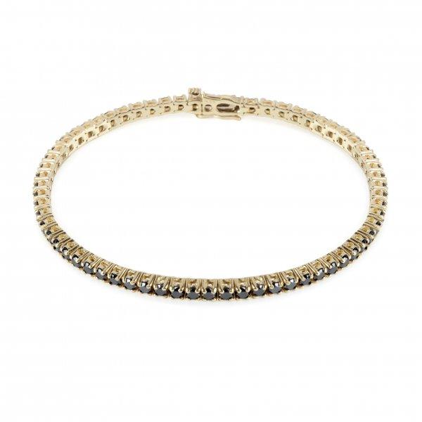 """Geltono aukso apyrankė su juodais deimantais """"Tennis Bracelet"""""""