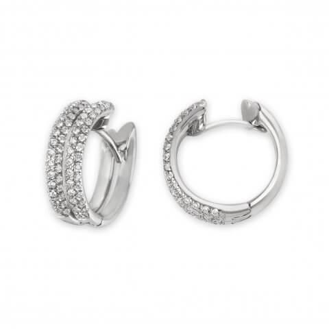 Balto aukso auskarai rinkelės su deimantais