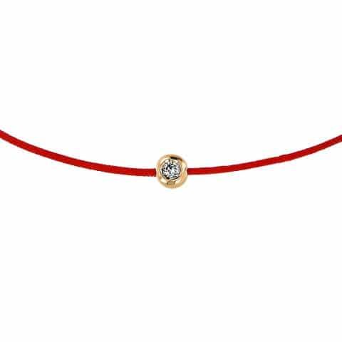 Raudona juostelė-apyrankė su 0,02 ct deimantu (geltonas auksas)