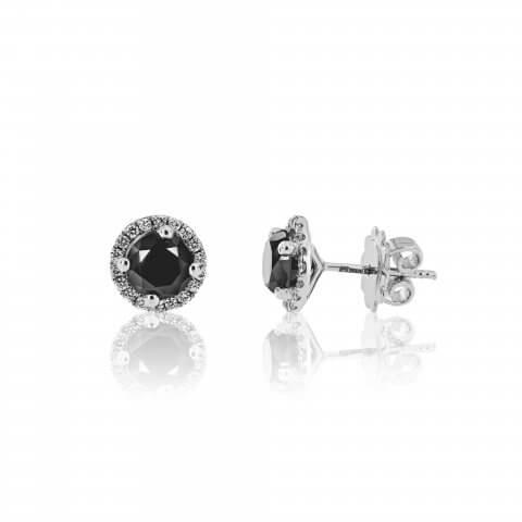 Balto aukso auskarai su juodais ir baltais deimantais
