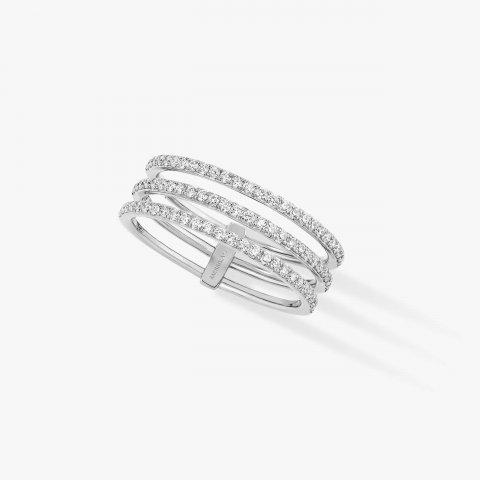 MESSIKA balto aukso žiedas su deimantais Gatsby 3 Rows
