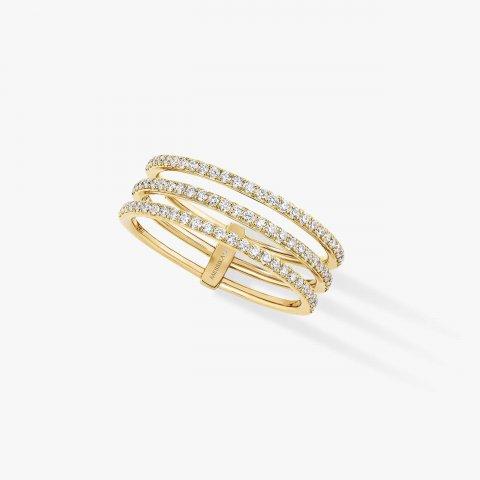 MESSIKA geltono aukso žiedas su deimantais Gatsby 3 Rows