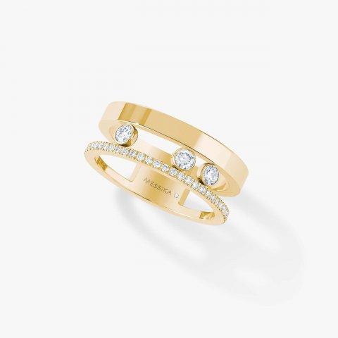 MESSIKA geltono aukso žiedas su deimantais Move Romane