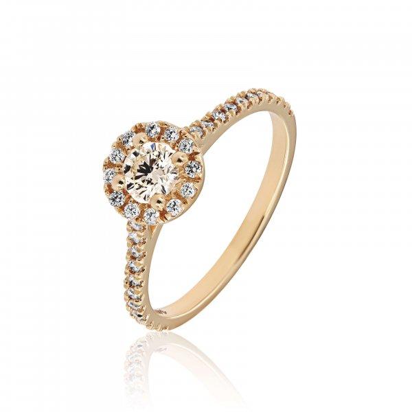 Geltono aukso žiedas su deimantais (centrinis deimantas round formos)