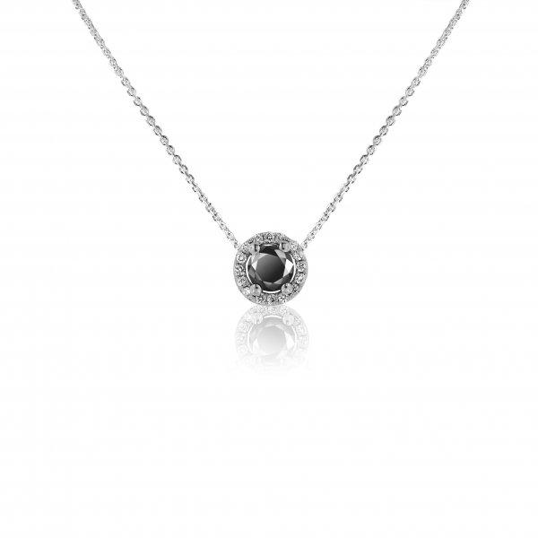 Balto aukso pakabukas su juodu ir baltais deimantais