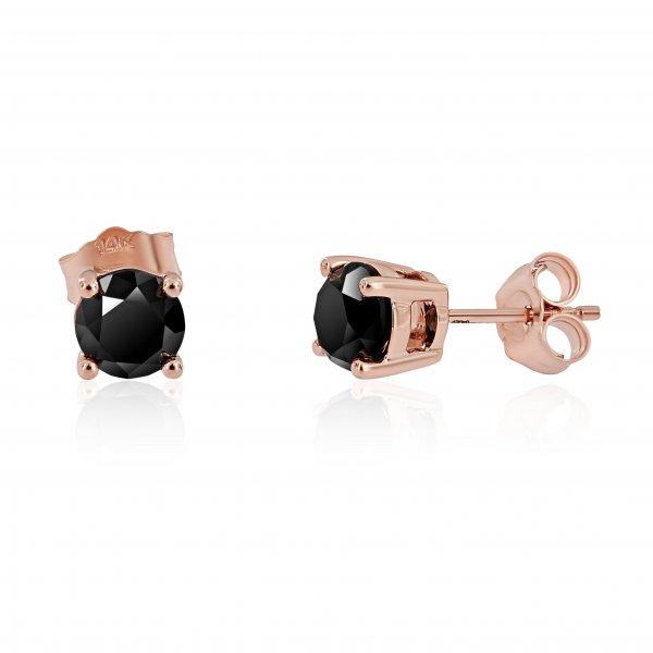 Rožinio aukso auskarai  su juodais deimantais