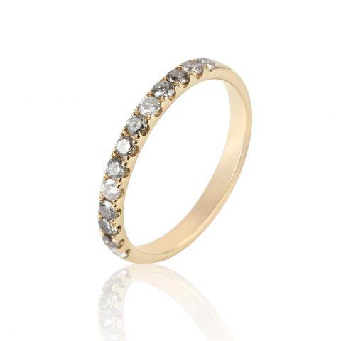 """Geltono aukso žiedas su deimantais """"Salt & Pepper"""""""