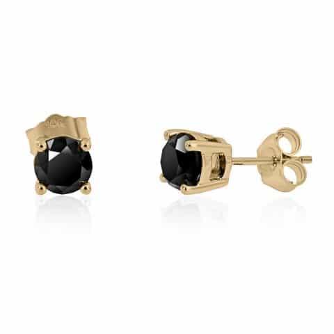 Geltono aukso auskarai su juodais deimantais