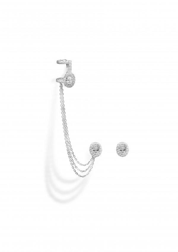 MESSIKA balto aukso auskarai su deimantais Glam'Azone
