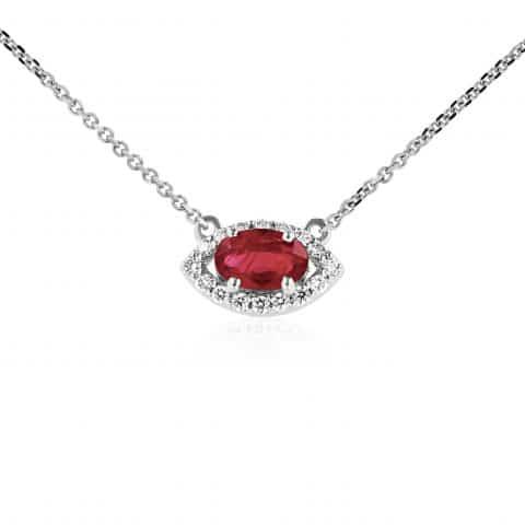 Balto aukso pakabukas su rubinu ir deimantais
