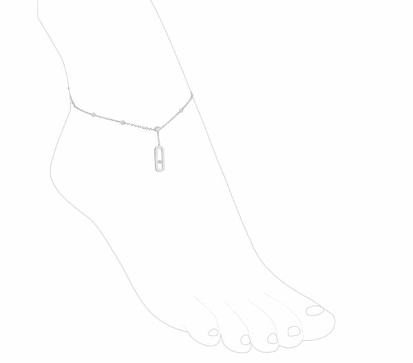 MESSIKA balto aukso grandinėlė ant kojos su deimantais Move Uno