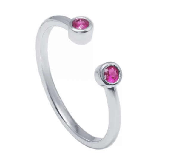 Atviras balto aukso žiedas su rubinais