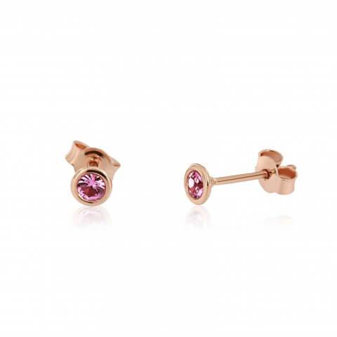 Rožinio aukso auskarai su rožiniais safyrais