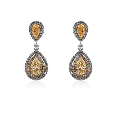 Balto aukso auskarai su geltonais deimantais