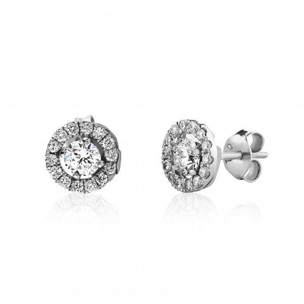 Balto aukso auskarai su round formos deimantais