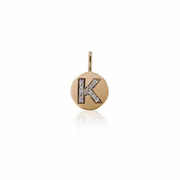Geltono aukso pakabukas su deimantais raidė K