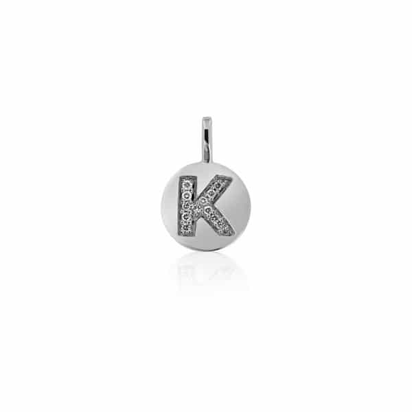Balto pakabukas su deimantais raidė K