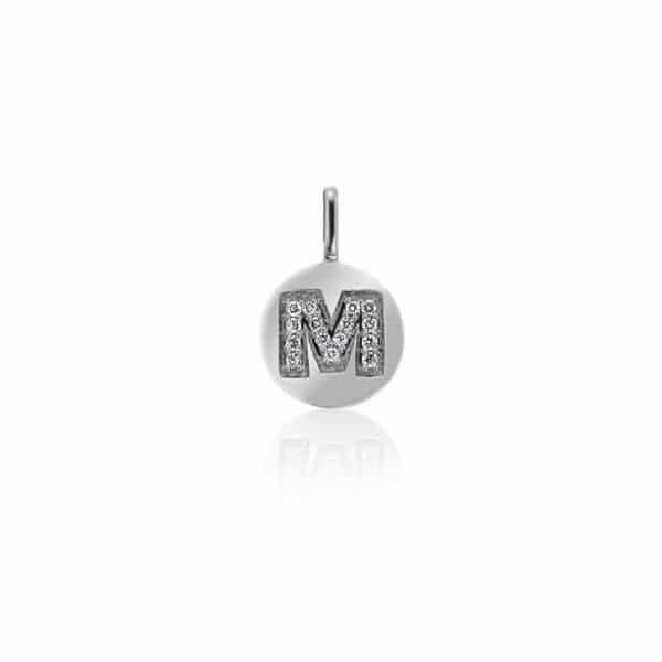 Balto aukso pakabukas su deimantais raidė M