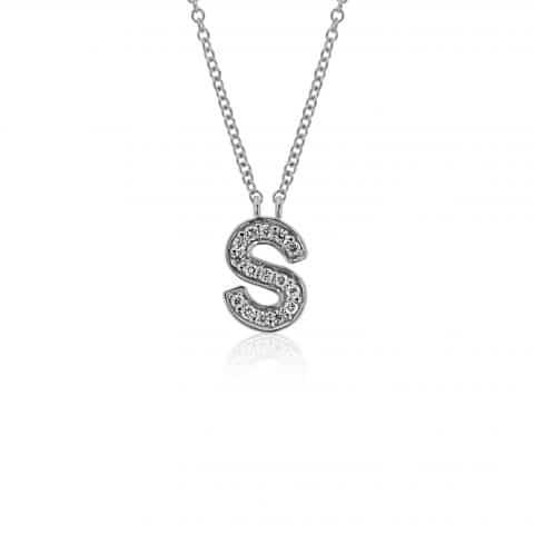 """Balto aukso pakabukas su deimantais raidė """"S"""""""