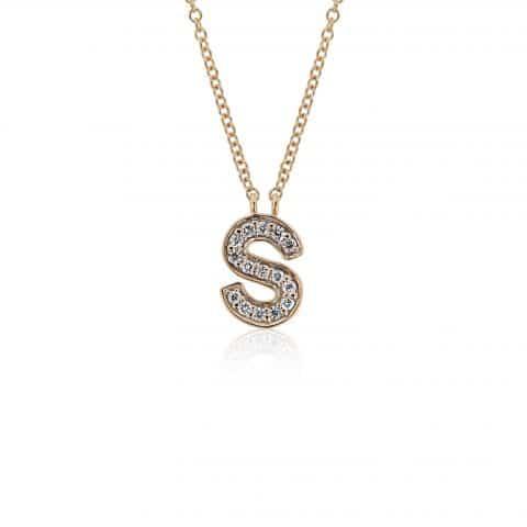 Geltono aukso pakabukas su deimantais, raidė S