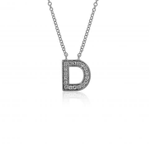 Balto aukso  pakabukas su deimantais, raidė D