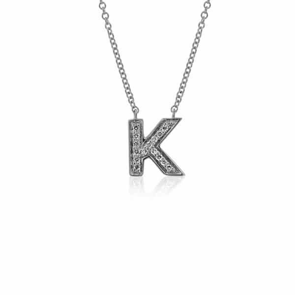 Balto aukso pakabukas su deimantais, raidė K