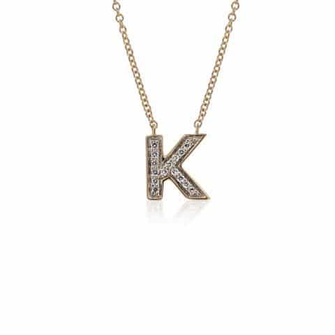 Geltono aukso pakabukas su deimantais, raidė K