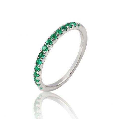 Balto aukso žiedas su smaragdais