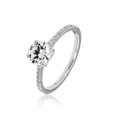 Balto aukso žiedas su deimantais (centrinis deimantas round formos)
