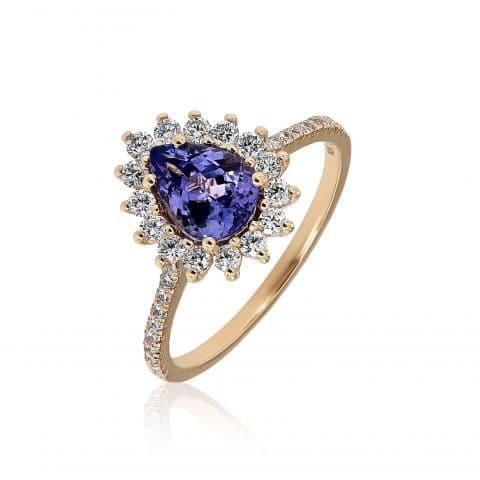 Geltono aukso žiedas su tanzanitu ir deimantais