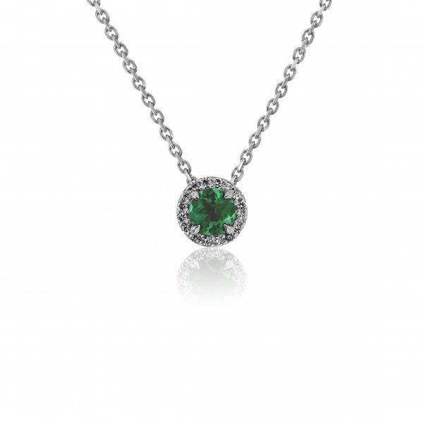 Balto aukso pakabukas su smaragdu ir deimantais