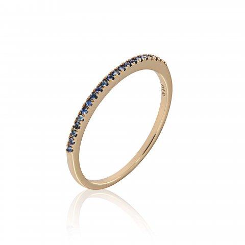 Geltono aukso žiedas su safyrais
