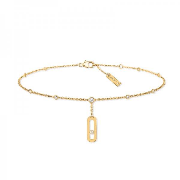 MESSIKA geltono aukso grandinėlė ant kojos su deimantais Move Uno