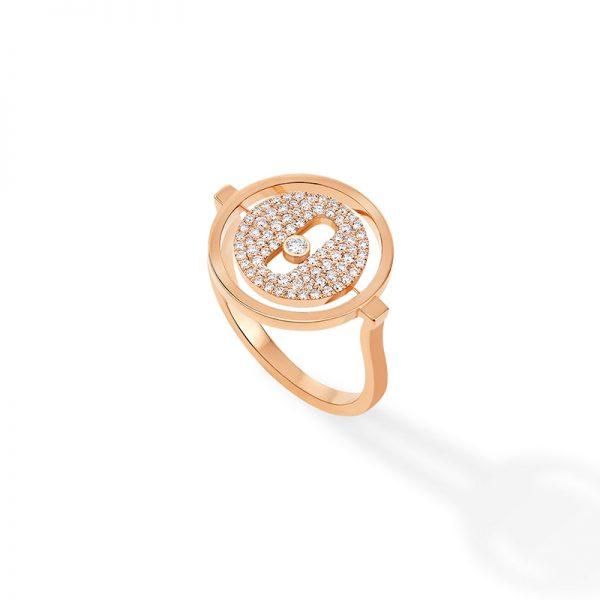 MESSIKA rožinio aukso žiedas su deimantais Lucky Move