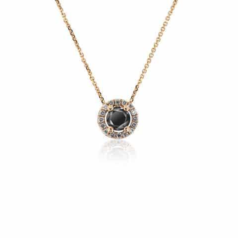 Geltono aukso  pakabukas su juodu ir baltais deimantais