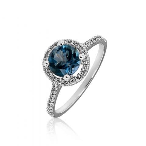 Balto aukso žiedas su akvamarinu ir deimantais