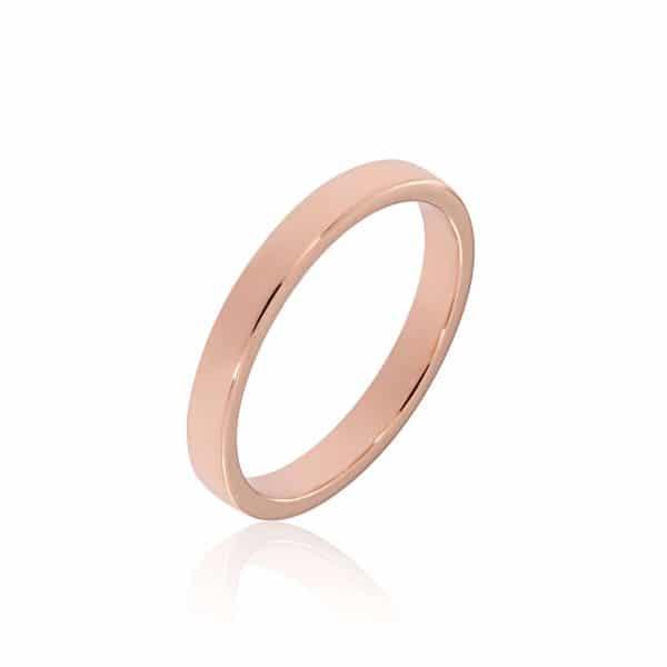 Rožinio aukso žiedas (3.3 mm pločio)