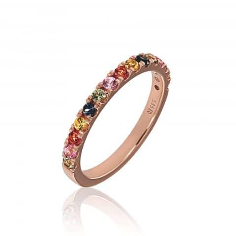 Rožinio aukso žiedas su safyrais