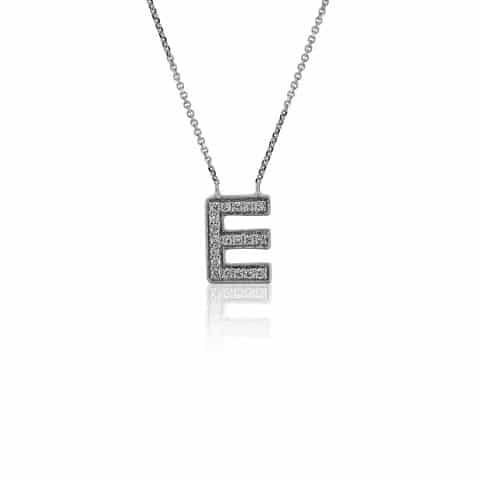 Balto aukso pakabukas su deimantais, raidė E