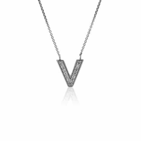 Balto aukso pakabukas su deimantais, raidė V