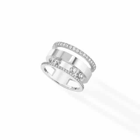 MESSIKA Balto aukso žiedas su deimantais BG Move  Romane GM