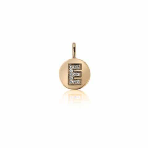 Geltono aukso pakabukas su deimanatais, raidė E