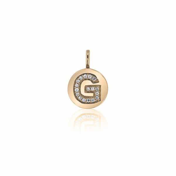 Geltono aukso pakabukas su deimantais, raidė G