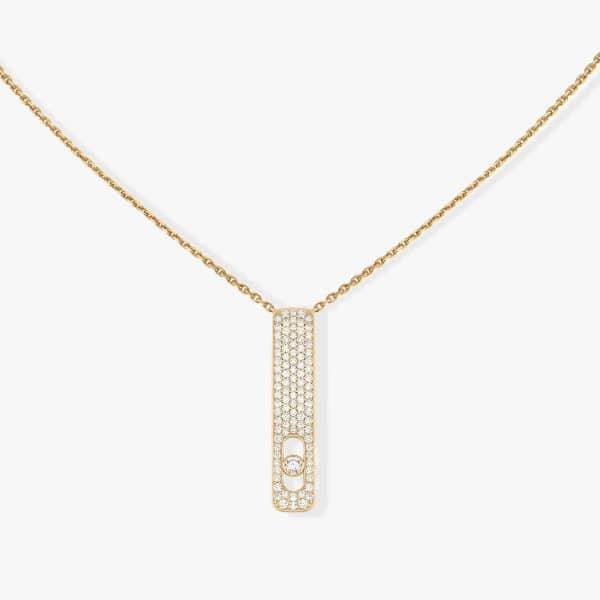 MESSIKA geltono aukso grandinėlė su deimantų pakabuku  My First Diamond pavé