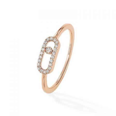 MESSIKA Rožinio aukso žiedas su deimantais Move Uno Pavé
