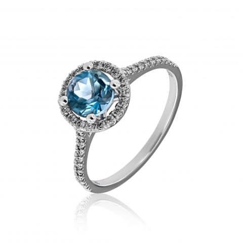 Balto aukso žiedas su akvamarinu ir deimantais (AU585 0.24 +1.55ct, 2.50g)