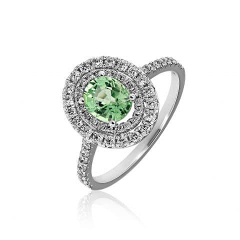 Balto aukso žiedas su Paraiba turmalinu ir deimantais