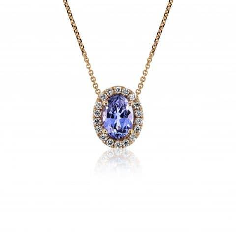 Geltono aukso pakabukas su tanzanitu ir deimantais