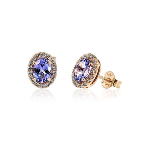 Geltono aukso auskarai su tanzanitais ir deimantais