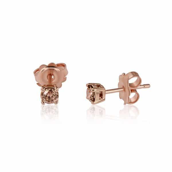 Rožinio aukso auskarai  su deimantais